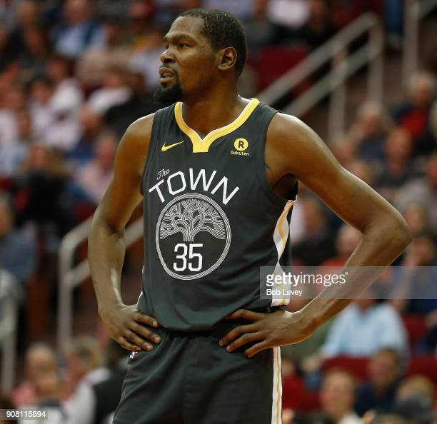 Kevin Durant of the Golden State Warriors against the Houston Rockets at Toyota Center on January 20 2018 in Houston Texas NOTE TO USER User...