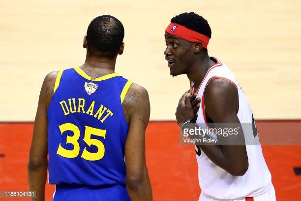 Kevin Durant of the Golden State Warriors and Pascal Siakam of the Toronto Raptors exchange words in the first half during Game Five of the 2019 NBA...