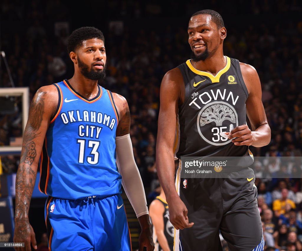 bad51dd13170 Kevin Durant of the Golden State Warriors and Paul George of the ...