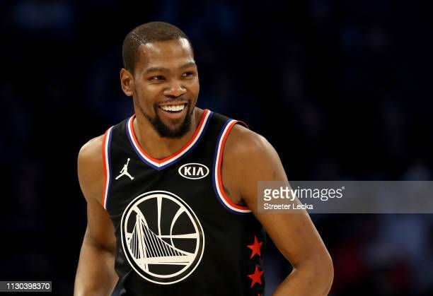 Kevin Durant of the Golden State Warriors and Team LeBron reacts in the first half during the NBA AllStar game as part of the 2019 NBA AllStar...