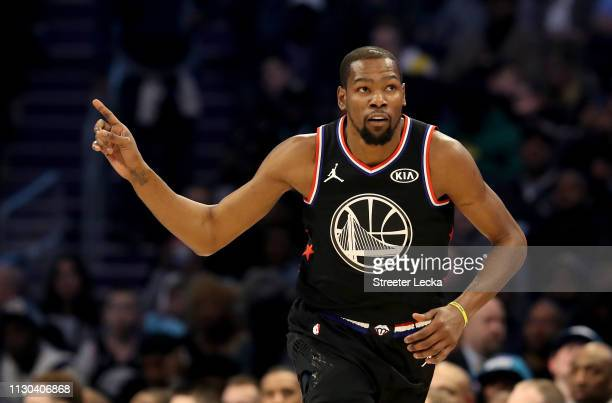 Kevin Durant of the Golden State Warriors and Team LeBron reacts in the second quarter during the NBA AllStar game as part of the 2019 NBA AllStar...