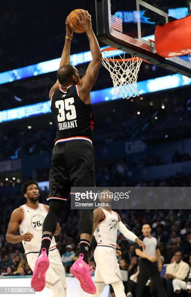 Kevin Durant of the Golden State Warriors and Team LeBron shoots against Team Giannis in the first quarter during the NBA AllStar game as part of the...