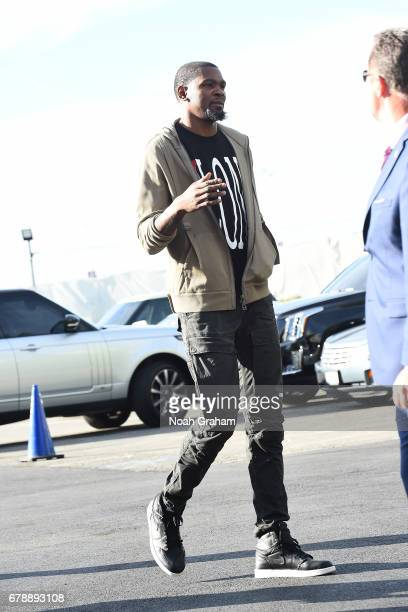 Kevin Durant of the Golden State Warriors arrive before the game against the Utah Jazz in Game Two the Western Conference Semifinals of the 2017 NBA...