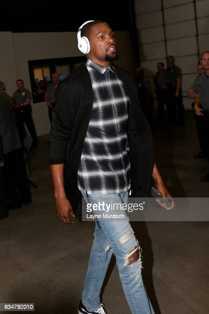 Kevin Durant of the Golden State Warriors arrives at the arena before the game against the Oklahoma City Thunder on February 11 2017 at Chesapeake...