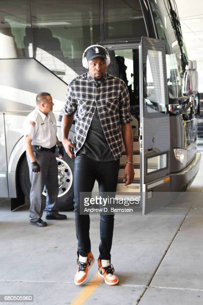 Kevin Durant of the Golden State Warriors arrives at the arena before the game against the Utah Jazz during Game Four of the Western Conference...