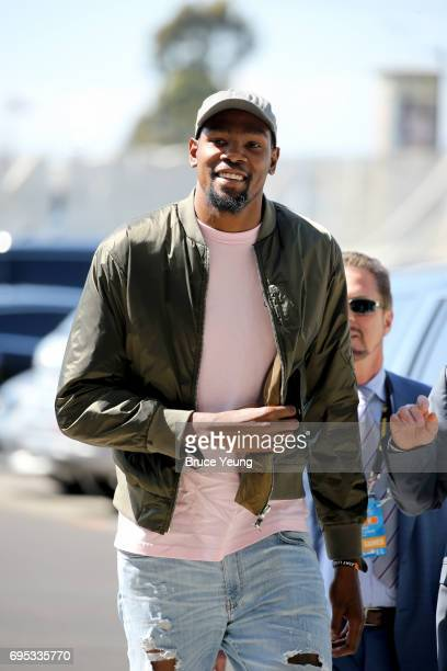 Kevin Durant of the Golden State Warriors arrives at the arena before the game against the Cleveland Cavaliers in Game Five of the 2017 NBA Finals on...