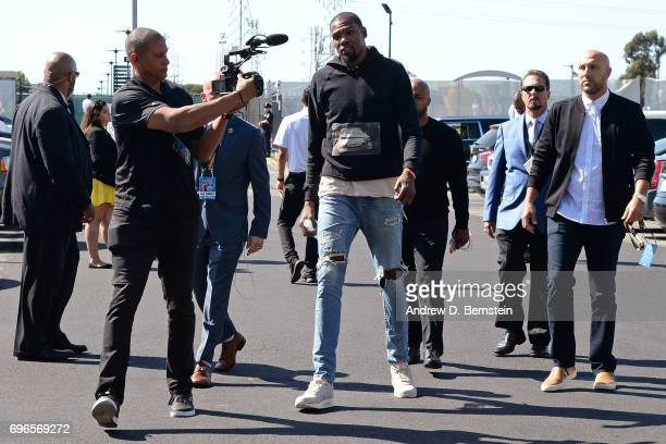 Kevin Durant of the Golden State Warriors arrives at the arena before Game One of the 2017 NBA Finals against the Cleveland Cavaliers on June 1 2017...