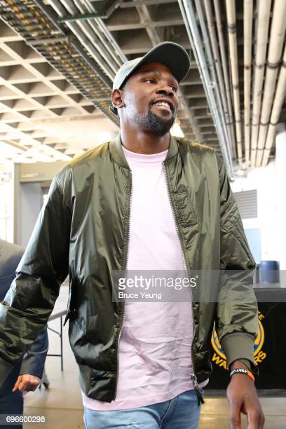 Kevin Durant of the Golden State Warriors arrives at the arena before Game Five of the 2017 NBA Finals against the Cleveland Cavaliers on June 12...