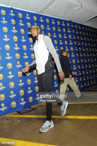 Kevin Durant of the Golden State Warriors arrives at the arena before the game against the Orlando Magic on November 13 2017 at ORACLE Arena in...