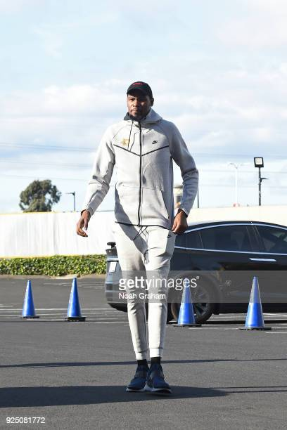 Kevin Durant of the Golden State Warriors arrives at the arena before the game against the Oklahoma City Thunder on February 24 2018 at ORACLE Arena...