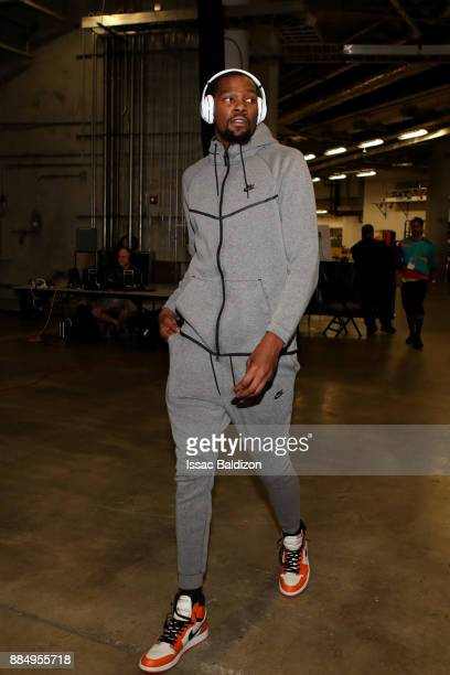 Kevin Durant of the Golden State Warriors arrives at the arena prior to the game against the Miami Heat on December 3 2017 in Miami Florida NOTE TO...