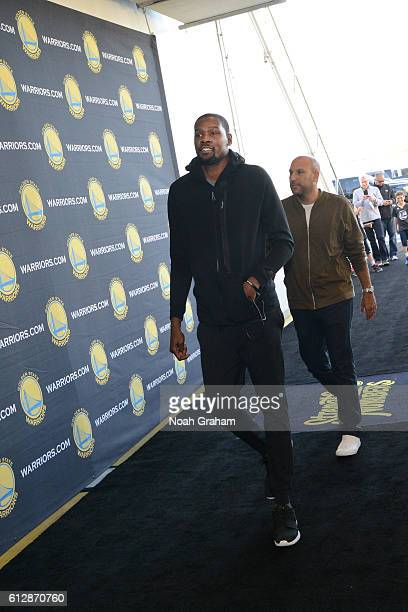 Kevin Durant of the Golden State Warriors arrives before the game against the Los Angeles Clippers during a preseason game on October 4 2016 at...