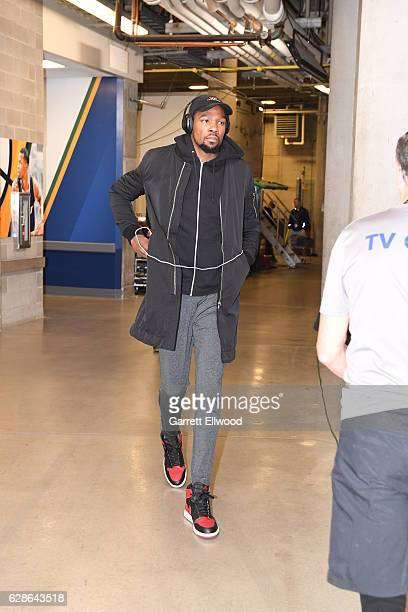 Kevin Durant of the Golden State Warriors arrives before the game against the Utah Jazz on December 8 2016 at vivintSmartHome Arena in Salt Lake City...