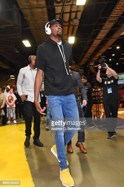 Kevin Durant of the Golden State Warriors arrives before the game against the Cleveland Cavaliers in Game Four of the 2017 NBA Finals on June 9 2017...