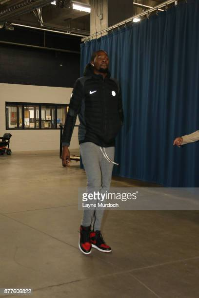Kevin Durant of the Golden State Warriors arrives before the game against the Oklahoma City Thunder on November 22 2017 at Chesapeake Energy Arena in...