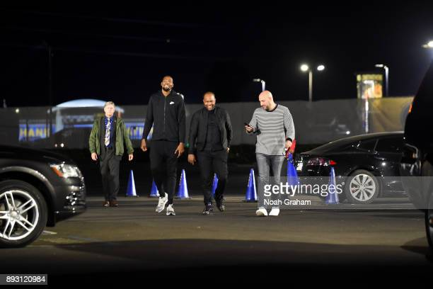 Kevin Durant of the Golden State Warriors arrives before the game against the Portland Trail Blazers on December 11 2017 at ORACLE Arena in Oakland...