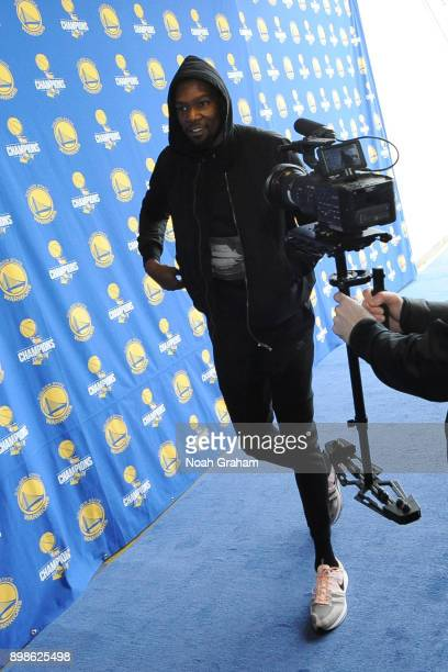 Kevin Durant of the Golden State Warriors arrives before the game against the Cleveland Cavaliers on December 25 2017 at ORACLE Arena in Oakland...