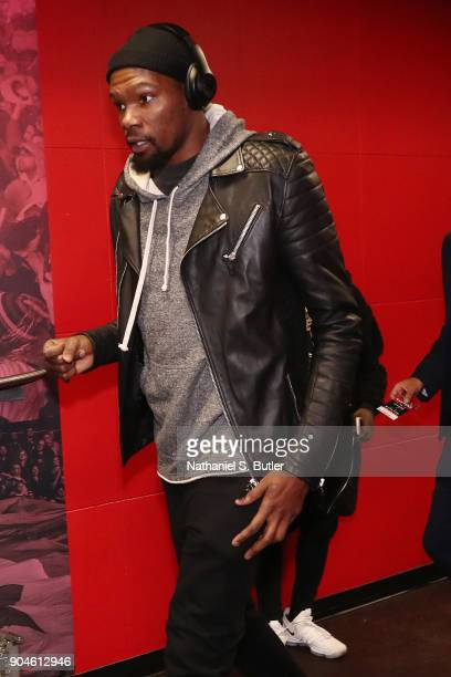 Kevin Durant of the Golden State Warriors arrives before the game against the Toronto Raptors on January 13 2018 at the Air Canada Centre in Toronto...