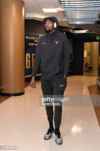 Kevin Durant of the Golden State Warriors arrives before the game against the Denver Nuggets on February 3 2018 at the Pepsi Center in Denver...