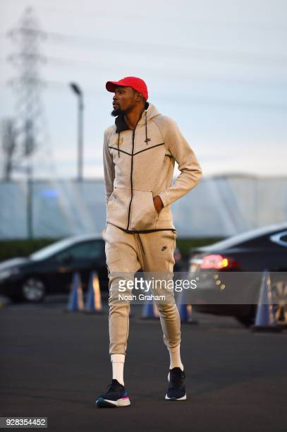 Kevin Durant of the Golden State Warriors arrives before the game against the Brooklyn Nets on March 8 2018 at ORACLE Arena in Oakland California...