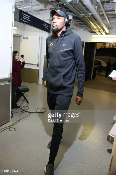 Kevin Durant of the Golden State Warriors arrives before the game against the Minnesota Timberwolves on March 11 2018 at Target Center in Minneapolis...