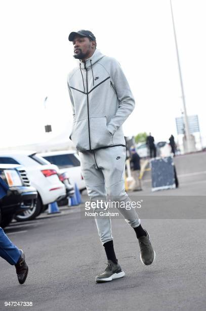 Kevin Durant of the Golden State Warriors arrives before the game against the San Antonio Spurs in Game Two of Round One of the 2018 NBA Playoffs on...