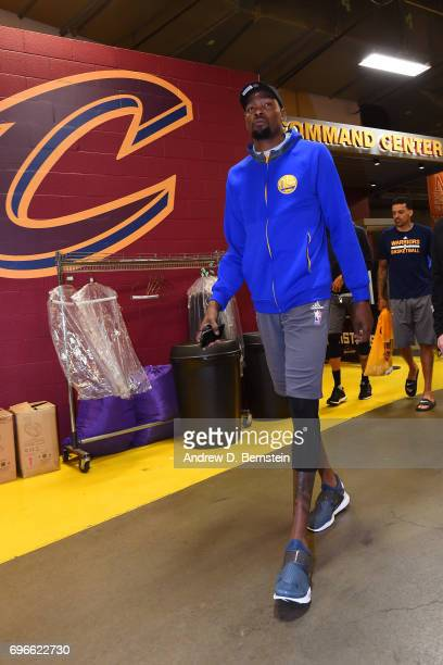 Kevin Durant of the Golden State Warriors arrives during practice and media availability as part of the 2017 NBA Finals on June 06 2017 at Quicken...