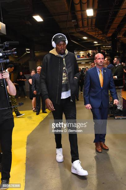 Kevin Durant of the Golden State Warriors arrives for the game against the Cleveland Cavaliers in Game Three of the 2017 NBA Finals on June 7 2017 at...