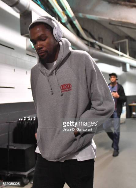 Kevin Durant of the Golden State Warriors arrives for the game against the Boston Celtics on November 16 2017 at the TD Garden in Boston...
