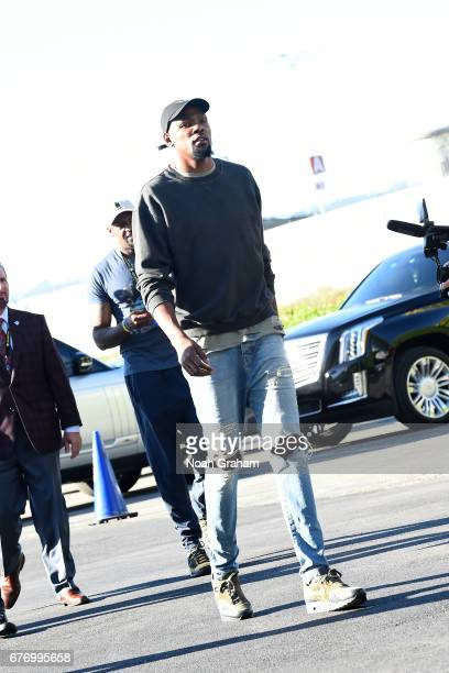 Kevin Durant of the Golden State Warriors arrives to the arena before the game against the Utah Jazz during Game One of the Western Conference...