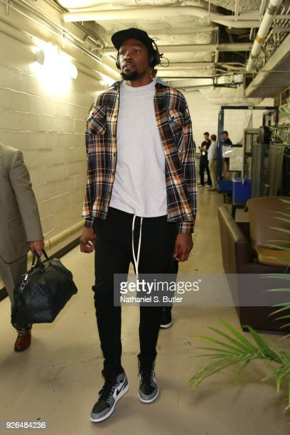 Kevin Durant of the Golden State Warriors arrives to the arena prior to the game against the New York Knicks on February 26 2018 at Madison Square...