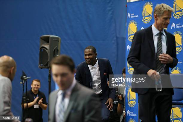 Kevin Durant of the Golden State Warriors arrives to the press conference to introduce Kevin Durant on July 7 2016 in Oakland California NOTE TO USER...