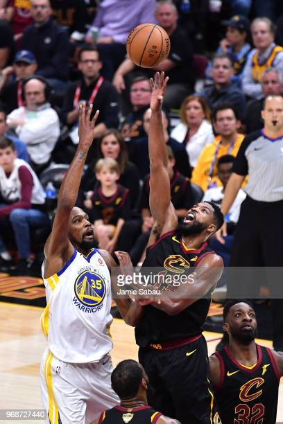 Kevin Durant of the Golden State Warriors attemtps a layup over Tristan Thompson of the Cleveland Cavaliers in the second half during Game Three of...