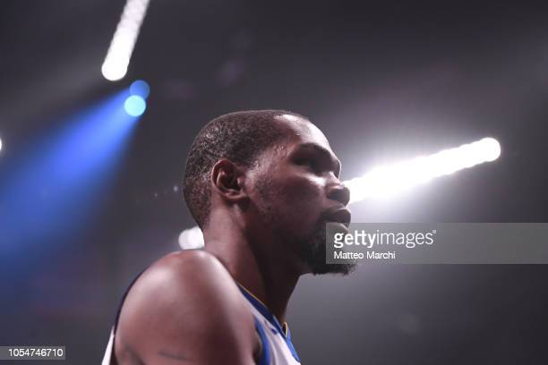 Kevin Durant of the Golden State Warriors before the game against the Brooklyn Nets at Barclays Center on October 28 2018 in the Brooklyn borough of...