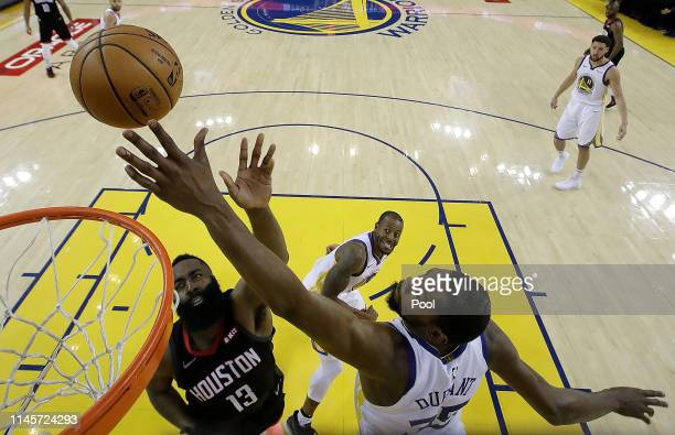 Kevin Durant of the Golden State Warriors blocks the shot of James Harden of the Houston Rockets during Game One of the Second Round of the 2019 NBA...
