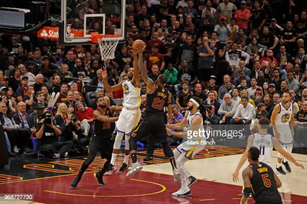 Kevin Durant of the Golden State Warriors blocks the shot of LeBron James of the Cleveland Cavaliers in Game Three of the 2018 NBA Finals on June 6...