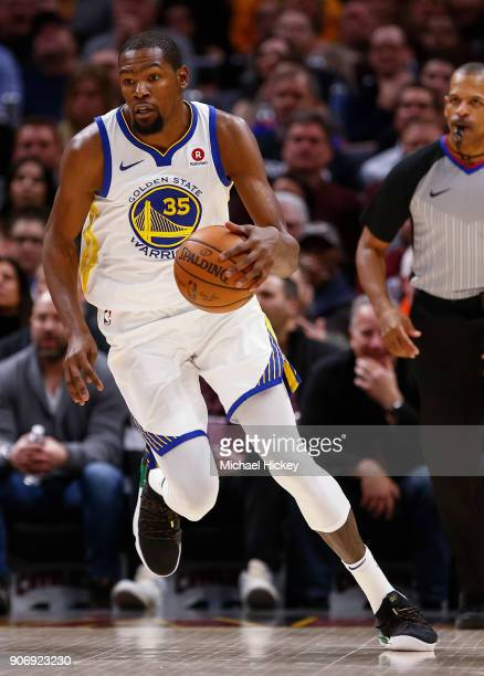Kevin Durant of the Golden State Warriors brings the ball up court during the game against the Cleveland Cavaliers at Quicken Loans Arena on January...