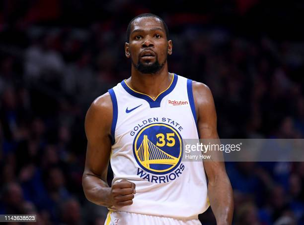 Kevin Durant of the Golden State Warriors celebrates a lead at half time over the LA Clippers during Game Two of Round One of the 2019 NBA Playoffs...