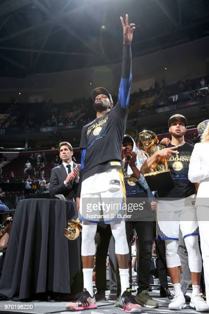 Kevin Durant of the Golden State Warriors celebrates after Game Four of the 2018 NBA Finals against the Cleveland Cavaliers on June 8 2018 at Quicken...