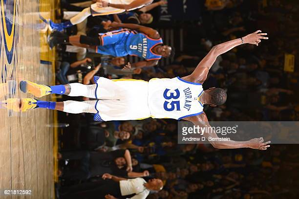 Kevin Durant of the Golden State Warriors celebrates after hitting a 3 point shot against the Oklahoma City Thunder on November 3 2016 at ORACLE...