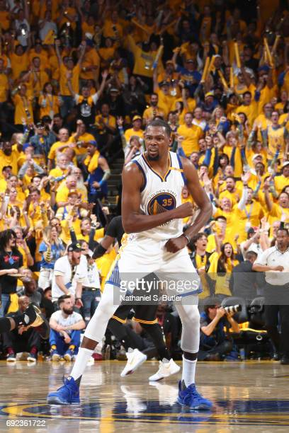 Kevin Durant of the Golden State Warriors celebrates during the game against the Cleveland Cavaliers in Game Two of the 2017 NBA Finals on June 4...
