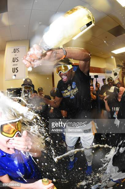 Kevin Durant of the Golden State Warriors celebrates in the locker room after winning the NBA Championship in Game Five of the 2017 NBA Finals...