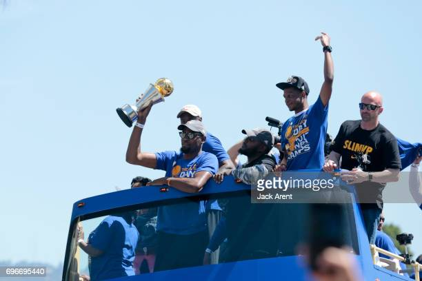 Kevin Durant of the Golden State Warriors celebrates winning the 2017 NBA Championship during a parade on June 15 2017 in Oakland CA NOTE TO USER...