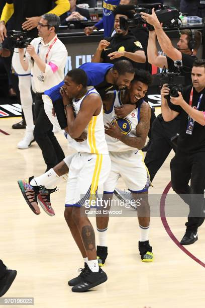 Kevin Durant of the Golden State Warriors celebrates with Nick Young after defeating the Cleveland Cavaliers and winning the NBA Championship during...