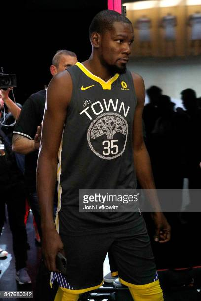 Kevin Durant of the Golden State Warriors debuts the new jersey during the unveiling of the New NBA Partnership with Nike on September 15 2017 in Los...