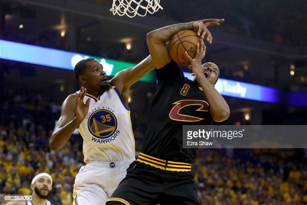 Kevin Durant of the Golden State Warriors defends Channing Frye of the Cleveland Cavaliers in Game 2 of the 2017 NBA Finals at ORACLE Arena on June 4...