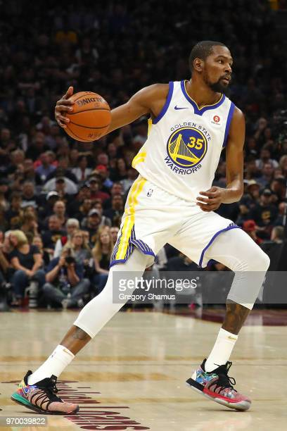 Kevin Durant of the Golden State Warriors dribbles with the ball against the Cleveland Cavaliers during Game Four of the 2018 NBA Finals at Quicken...