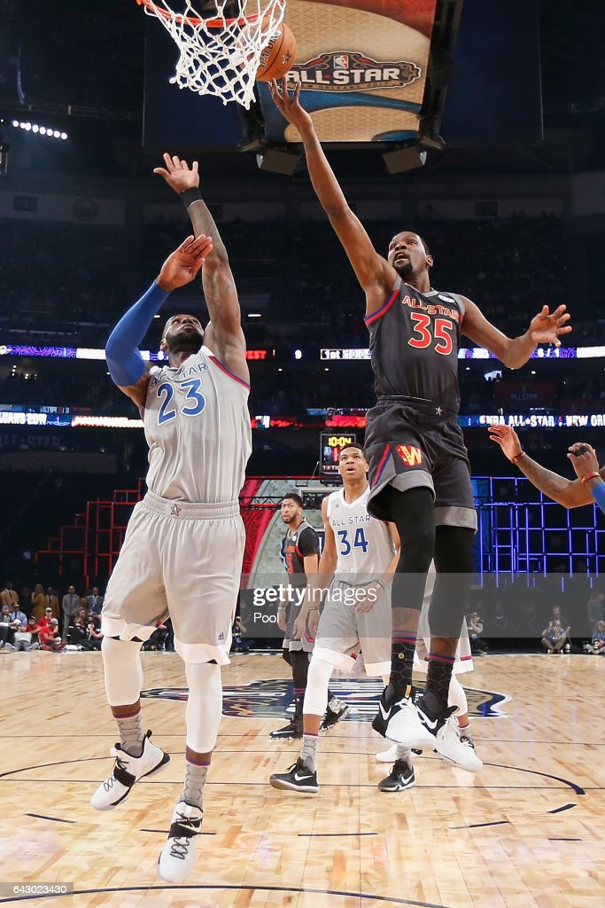 Kevin Durant #35 of the Golden State Warriors drives to the basket against LeBron James #23 of the Cleveland Cavaliers in the first half of the 2017 NBA All-Star Game at Smoothie King Center on February 19, 2017 in New Orleans, Louisiana.