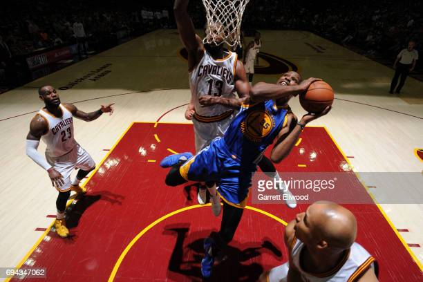 Kevin Durant of the Golden State Warriors drives to the basket against the Cleveland Cavaliers in Game Four of the 2017 NBA Finals on June 9 2017 at...