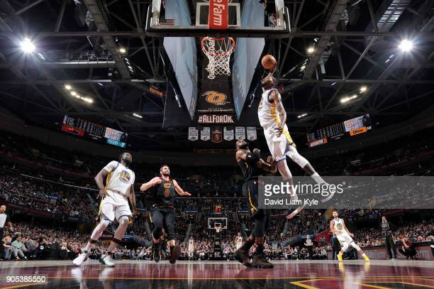 Kevin Durant of the Golden State Warriors dunks against the Cleveland Cavaliers on January 15 2018 at Quicken Loans Arena in Cleveland Ohio NOTE TO...